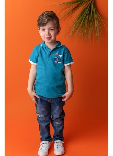 Mininio Mavi Palmiye Baskılı Polo Yaka T-Shirt (9ay-4yaş) Mavi Palmiye Baskılı Polo Yaka T-Shirt (9ay-4yaş) Mavi